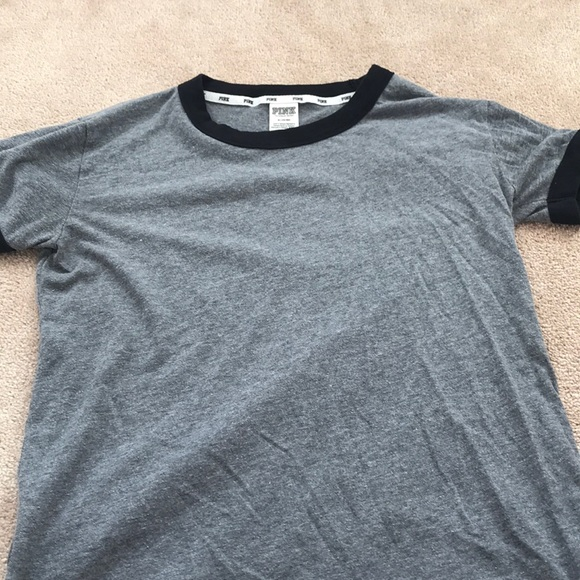 PINK Tops - Grey And Black Plain T-Shirt From Pink